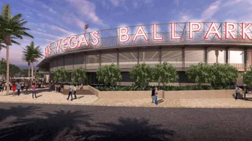 A rendering shows the exterior of the Las Vegas Ballpark.