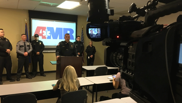 AMR addresses the media during a press conference on Feb. 13, 2018. (Jason Westerhaus/FOX5)