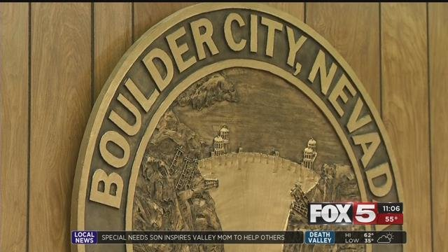 The Boulder City seal is shown in a court room (FOX5).