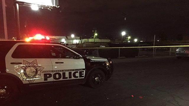 A LVMPD patrol vehicle blocks the crime scene (Luis Marquez / FOX5).