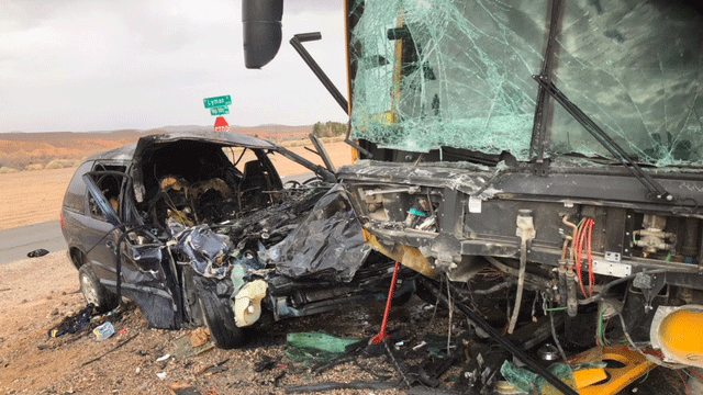 A vehicle and bus collided on Feb. 14, 2018. (Source: NHP)