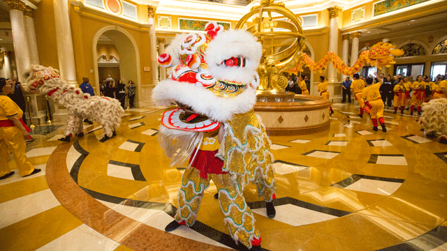 A Chinese New Year display at the Venetian is shown on Feb. 16, 2018. (Source: Venetian)
