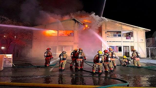 Las Vegas Fire and Rescue crews battle an intense blaze at a northwest Valley apartment complex (LVFR / FOX5).