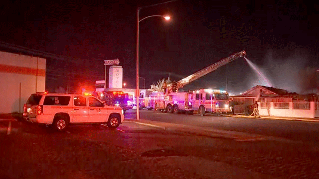 A fire damaged a former North Las Vegas hotel on Feb. 19, 2018. (Source: Brad Boyer)