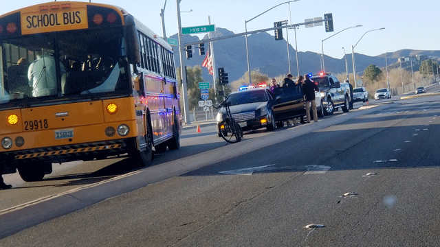 A bus was involved in a collision on Feb. 20, 2018. (Timothy Parker/Report It)