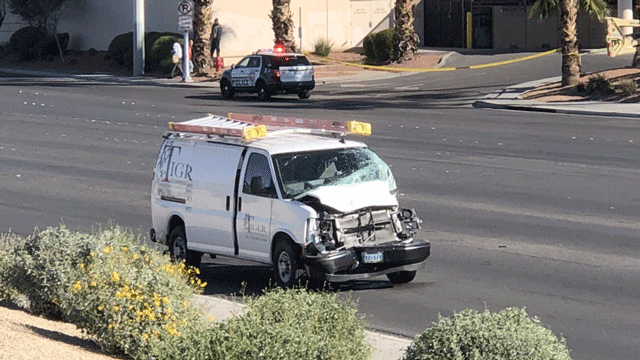 Police said a van hit a pedestrian on Feb. 20, 2018. (Dylan Kendrick/FOX5)