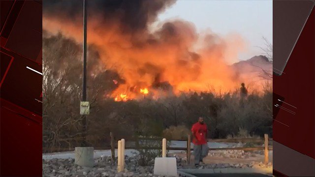 A brush fire broke out at Wetlands Park Tuesday evening. Feb. 20, 2018 (Photo: Emily Vazquez)