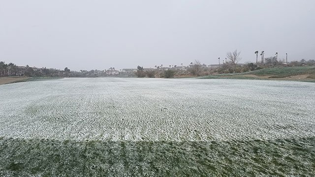 A light blanket of snow covers the golf course at Red Rock Country Club (Brian F. / FOX5).