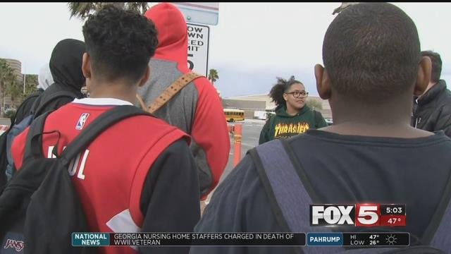 A group of students at Mojave High School in North Las Vegas walked out of class on Friday to send a message that they want their school to be safer. (FOX5)