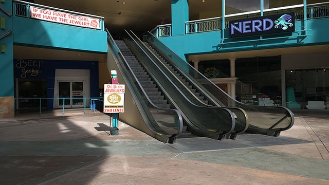 A 21-year-old man fell from the escalator at Neonopolis in downtown Las Vegas (Kurt Rempe / FOX5).
