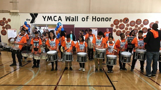 ASAS students from Gibson MS Drum Line perform at dodgeball tourney. (Courtesy)