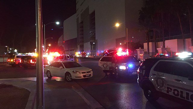 A man was put into custody for starting building materials on fire at The Drew (formerly Fontainebleau) parking garage, according to the Clark County Fire Department. (Kurt Rempe / FOX5)