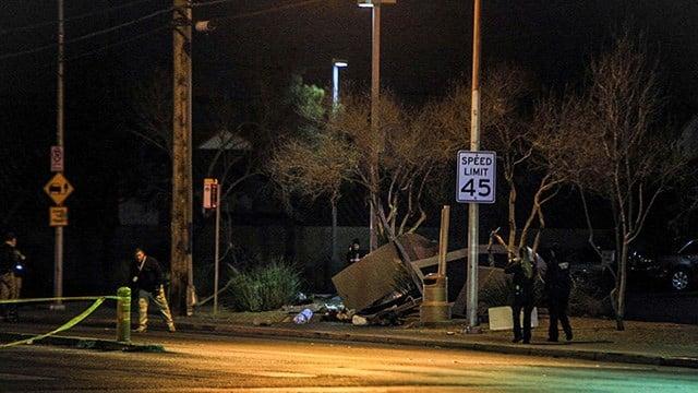 A tour bus crashed into a bus stop, killing a female pedestrian, on Desert Inn Road near Eastern Avenue in Las Vegas Thursday, according to Metro Police. (Gai Phanalasy / FOX5)