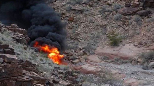 Authorities said a British tourist who was pulled from the wreckage of a fiery helicopter crash in the Grand Canyon has been upgraded to fair condition at a Nevada hospital. (Photo: Teddy Fujimoto)