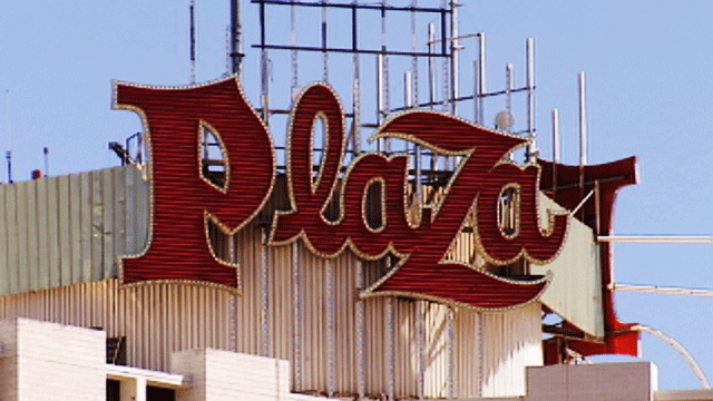 The sign for the Plaza Hotel and Casino is shown in an undated image. (File)