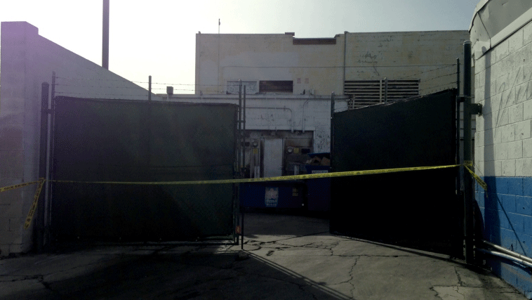Police taped off a section of the building where two men were electrocuted. (Roger Bryner/FOX5)