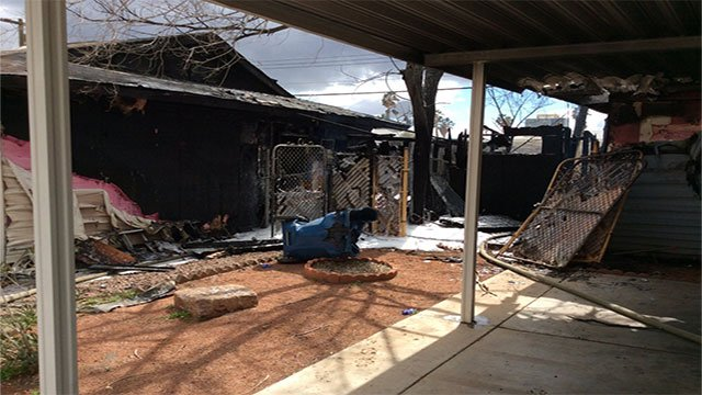 Two homes were affected by a fire after a motorcycle burst into flames (LVFR / Twitter).