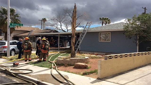 LVFR crews assess the damage on two homes in west Las Vegas (LVFR / Twitter).