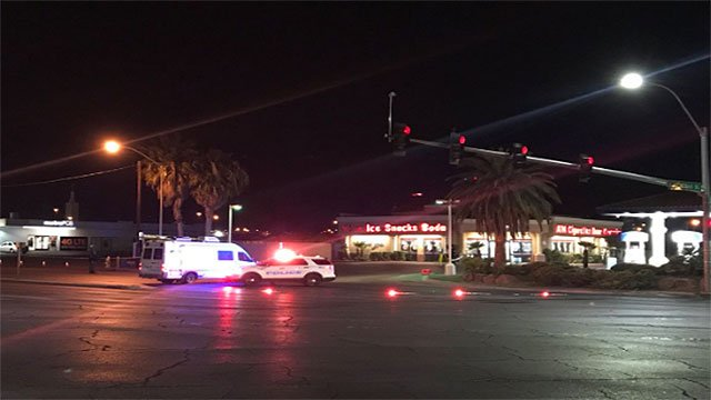 A NLVPD patrol car is on the scene of a fatal overnight crash March 16, 2018 (NLVPD / Twitter).