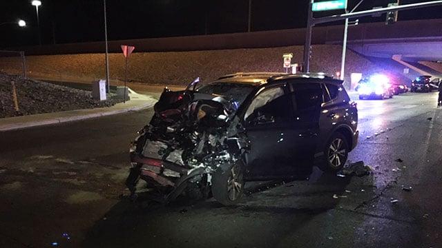 The mangled Toyota Rav4 was reportedly stolen, NHP said (Jason Buratczuk / NHP).