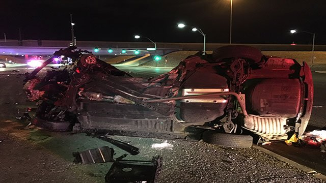The Hyundai SUV was struck with such force that it rolled over, NHP said (Jason Burtaczuk / NHP).