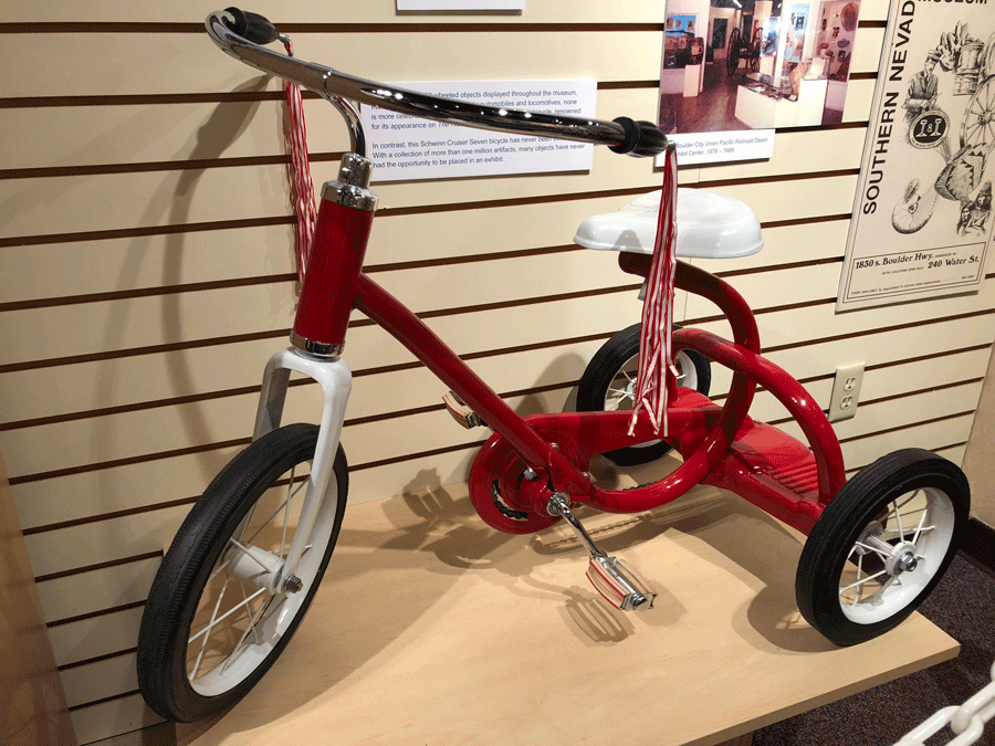 A tricycle on display at the Clark County Museum is shown on March 20, 2018. (Mike Doria/FOX5)