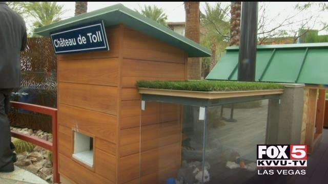 Las Vegas builders created luxury dog homes that are being auctioned off to help fight homelessness. (FOX5)