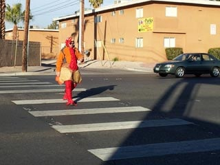 In November, Las Vegas police officers donned turkey suits in a similar crosswalk event. (FOX5)