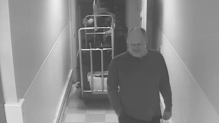 Stephen Paddock was captured on surveillance video at the Mandalay Bay. Source: MGM)