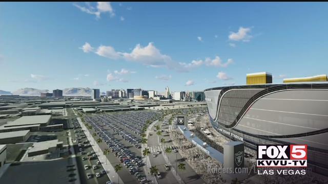 A 3D rendering of the Las Vegas Raiders stadium is seen here.
