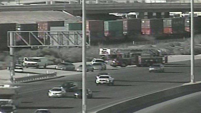 Police said a body was found near the I-15 southbound lanes, north of the Lake Mead Boulevard exit Tuesday afternoon.