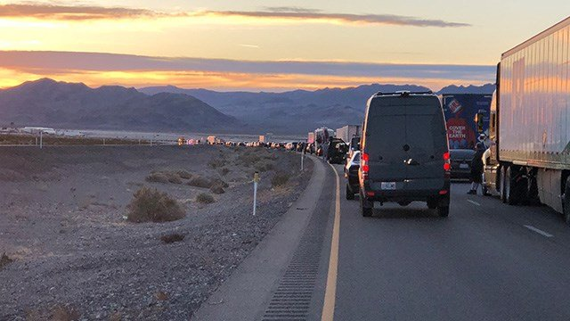 Traffic on US 95 in both directionswas shut down after suspicious packages were found at Creech Air Force Base Tuesday. (Photo: Rhenda Himel)