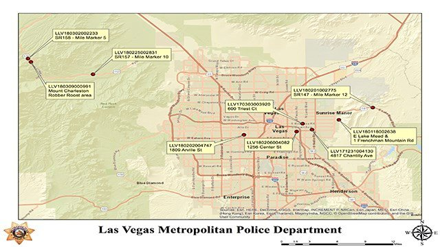 A total of 10 bodies were found in locations throughout the Las Vegas Valley. A map details the event numbers and address for each victim of the MS13 gang (LVMPD / FOX5).