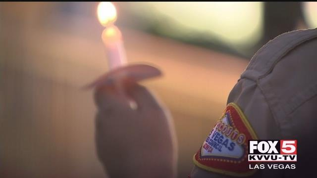Cub Scouts gathered to honor their friend who was hit and killed on his bike. (Austin Turner / FOX5)