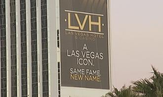 A banner bears the name that will replace Las Vegas Hilton
