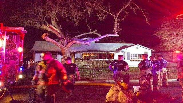 LVFR crews battle a blaze on the 1200 block of South 9th Street April 1, 2018 (LVFR).
