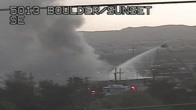 Firefighters battled a blaze near Boulder Highway and Sunset Road on April 4, 2018. (Source: LVACS)