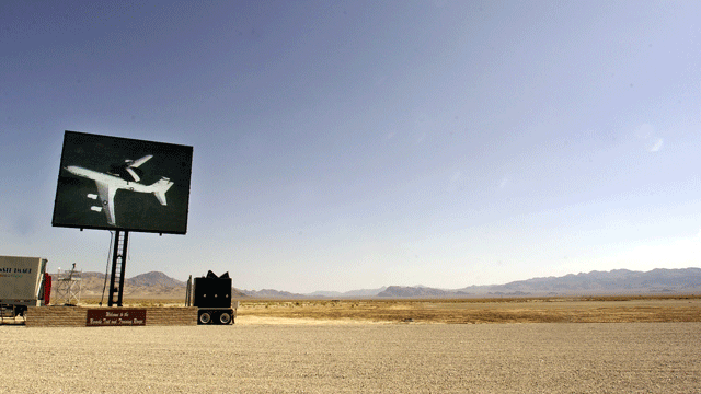 A giant television screen set up by the Air Force in the middle of the Nevada desert at the Nevada Test and Training Range is seen Friday, July 19, 2002. (AP Photo/Joe Cavaretta)