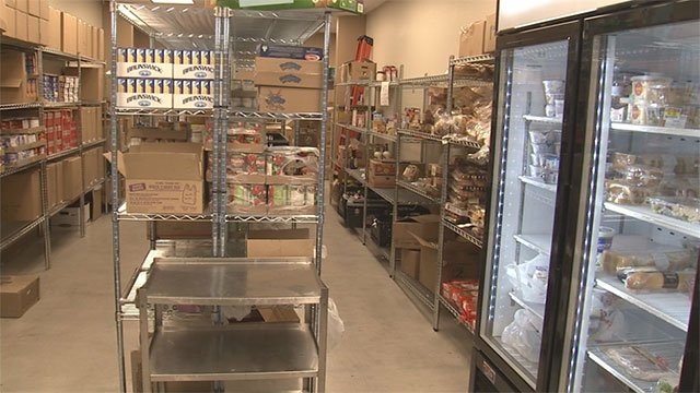 An inside look of the LSSN headquarters food pantry (FOX5).