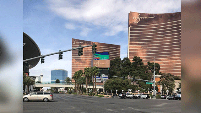 Police investigate a suspicious package on the Las Vegas Strip on April 6, 2018. (Tiana Bohner/FOX5)