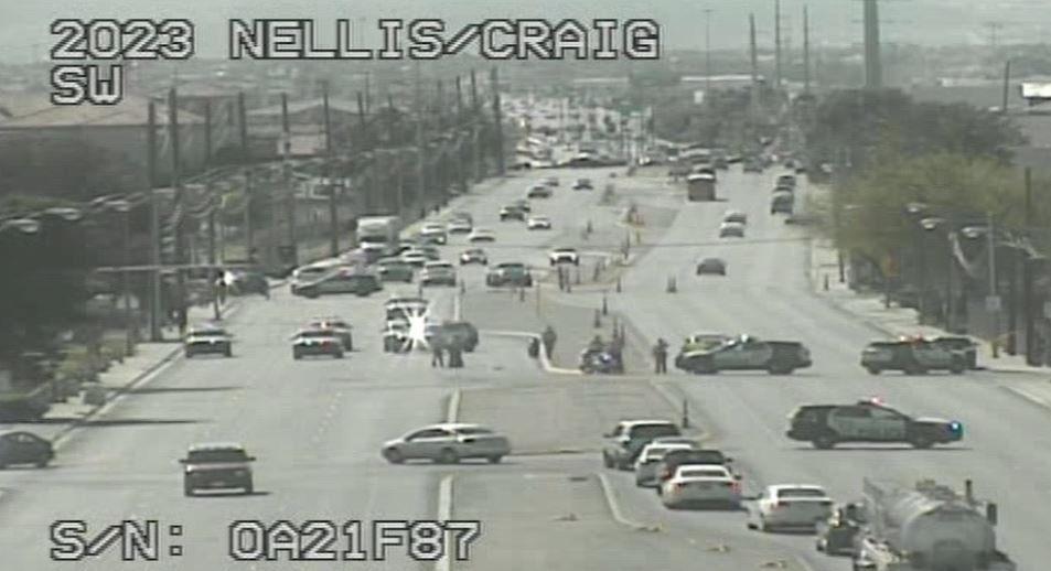 A boy was hit by a vehicle near Nellis Boulevard and Craig Road. (Photo: FastCam)