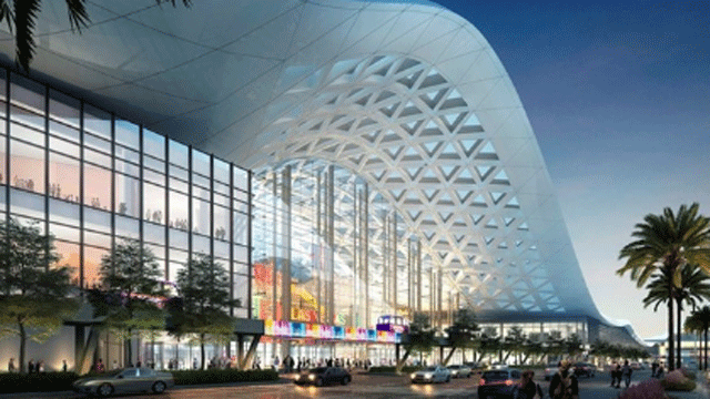 A rendering of the convention center expansion is shown. (Source: LVCVA)