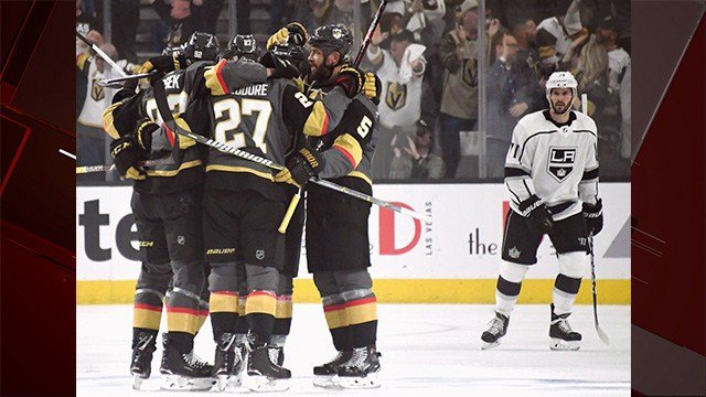 Marc-Andre Fleury made 30 saves, Shea Theodore scored in the first period and the Vegas Golden Knights beat the Los Angeles Kings 1-0 on Wednesday night to win the franchise's first playoff game. (Photo: Vegas Golden Knights)