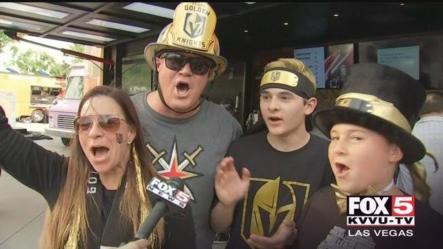 Fans celebrated the first-ever playoff win for the Vegas Golden Knights Wednesday. Hours before the team took the ice, a pre-game party kicked of at Toshiba Plaza. (Photo: Kurt Rempe / FOX5)