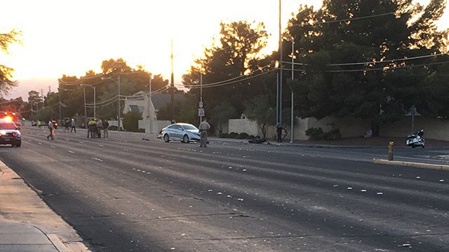 A motorcyclist was critically injured in a crash at Charleston Boulevard and Sloan Lane Thursday night, according to Metro Police.