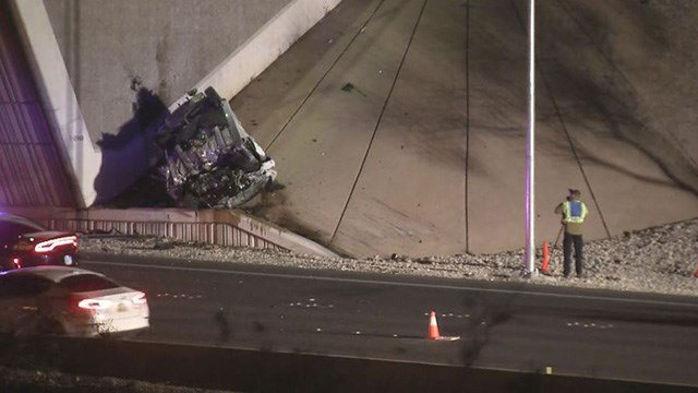 A man died in a rollover crash at Summerlin Parkway and Buffalo Drive, according to the Nevada Highway Patrol. (Roger Bryner / FOX5)