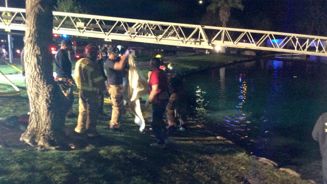 Crews used a small raft and inflated fire hose to rescue the couple. (Source: LVFR)
