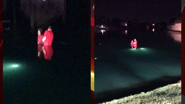 Firefighters said they found the couple standing on the roof of the car which was about 20-feet from shore. (Source: LVFR)