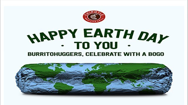 Chipotle Mexican Grill is offering free food with purchase on Earth Day (Chipotle).