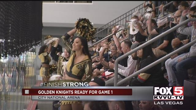 Fans of the Vegas Golden Knights watch the team practice at City National Arena (FOX5)